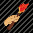 arm, century, fire, period, prehistoric, stone, torch icon