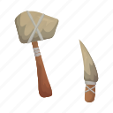 antiquity, archeology, ax, century, knife, stone, weapons icon