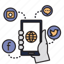 application, mobile, phone, social, socialmedia icon