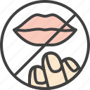 coronavirus, dont, hand, lips, touch icon