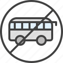 bus, no, no bus, no minibus, no public transport icon
