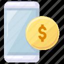 coines, mobile, money icon