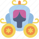 carrage, cinderella, fairy tale, story, time icon