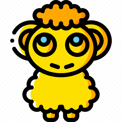 fairy tale, sheep, story, time, yellow icon