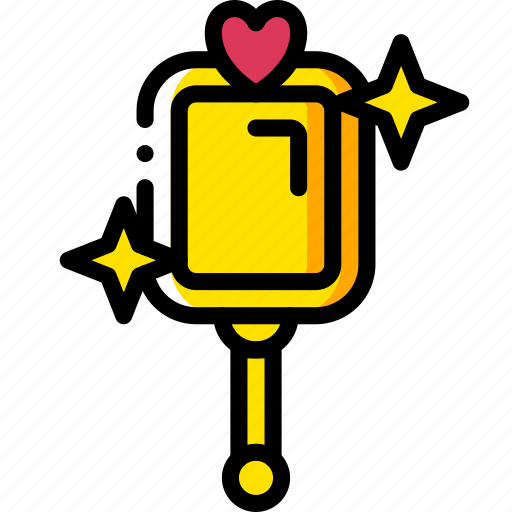fairy tale, mirror, story, time, yellow icon