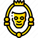 fairy tale, man, mirror, story, time, yellow icon