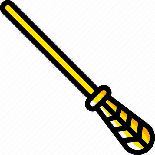 broom, fairy tale, story, time, witch, yellow icon