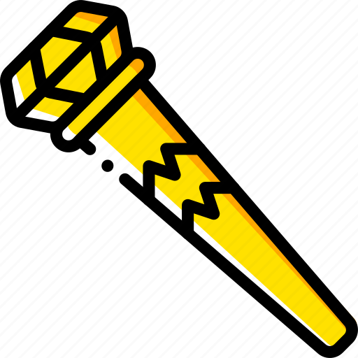 fairy tale, sceptre, story, time, yellow icon