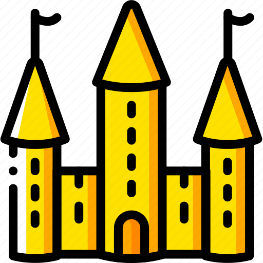 castle, fairy tale, princess, story, time, yellow icon