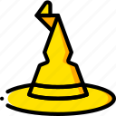 fairy tale, hat, story, time, wizrd, yellow icon