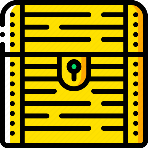 chest, fairy tale, story, time, treasure, yellow icon