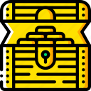 chest, fairy tale, open, story, time, treasure, yellow icon