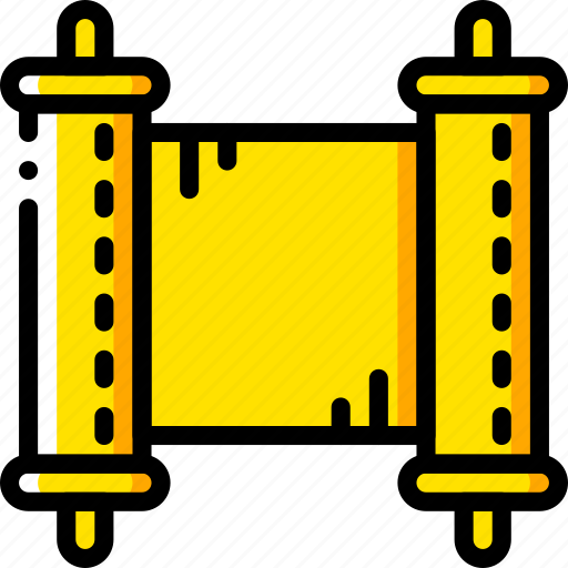 fairy tale, scroll, story, time, yellow icon