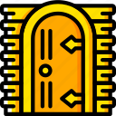 castle, door, fairy tale, story, time, yellow icon