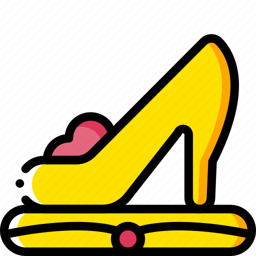 fairy tale, princess, shoe, story, time, yellow icon