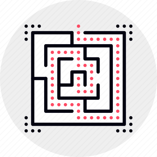 exit, labyrinth, puzzle icon