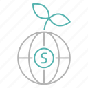 money, plant, global, strategy icon