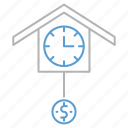 clock, dollar, money, strategy, time icon