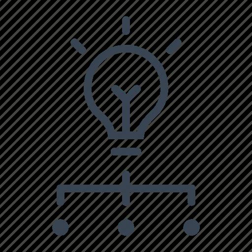 business, lightbulb, management, organization, team, teamwork icon