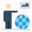 arrow, globe, go, man, user