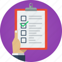 business, check, checked, checklist, done, hand, list, marketing, mission, missions, objectives, plan, process, project, steps, tasks, tick, verify icon