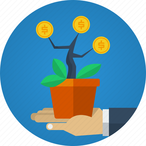 benefit, benefits, business, coins, making money, marketing, money, plant, results icon