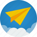 cloud, clouds, communication, flight, mission, paper, paper plane, plane icon