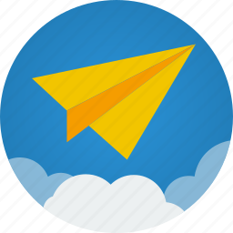 cloud, clouds, communication, flight, mission, paper, paper plane, plane icon