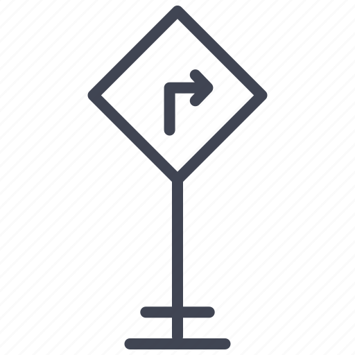 arrow, direction, right, road, sign, street, turn icon