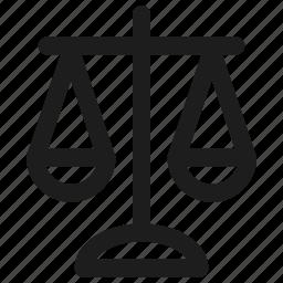 balance, court, crime, judge, justice, law, scale icon