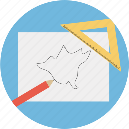 business, map, pencil, ruler, triangle icon