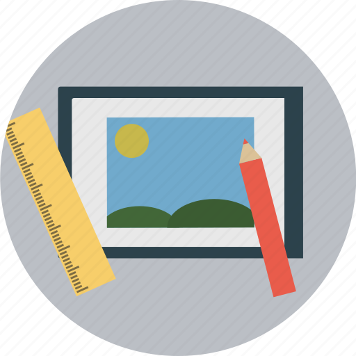 frame, image, pencil, picture, ruler icon