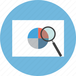 business, chart, magnifier, magnifying, search, zoom icon