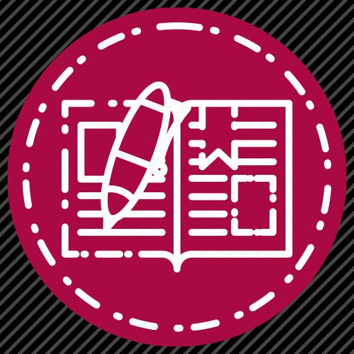 book, knowledge, learning, open, pen, school, study icon