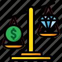 coin, diamond, economics, economy, scale, weight icon