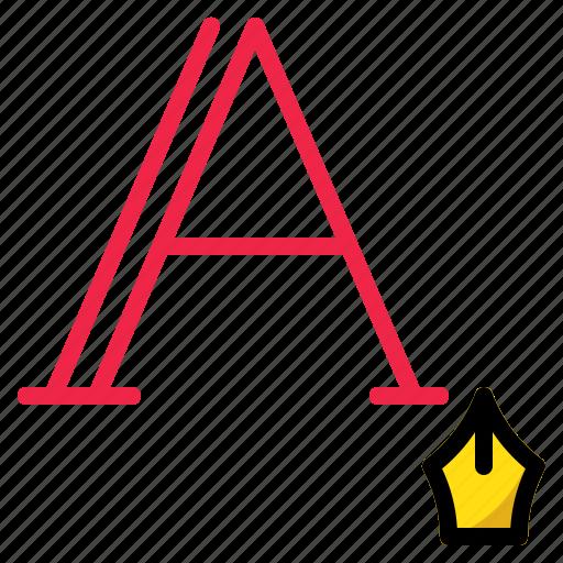 alphabet, hand, ink, pen, writing icon