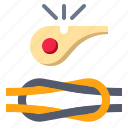 binding, boy, rope, scout, whistle icon