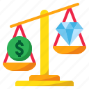 coin, diamond, economics, economy, scale, weight