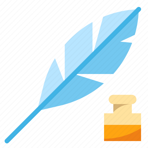 feather, ink, letter, literature, writing icon