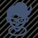 avatar, female, gerk, girl, nerd, short hair, student icon