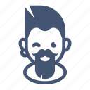 alternative, avatar, beard, hipster, male, man, moustache icon