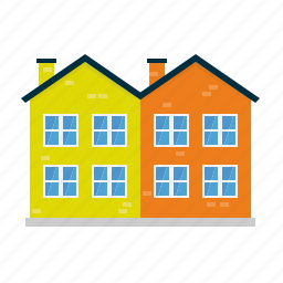 building, bungalow, double, home, house, suburban, twin icon