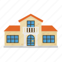 architecture, building, columns, home, house, suburban, villa icon