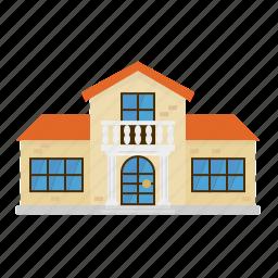 architecture, building, columns, home, house, suburban, villa icon