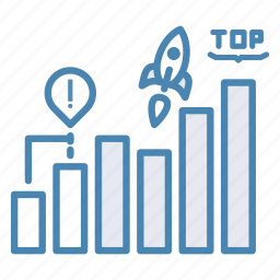 busines, chart, growth, report, rocket, startup, top icon