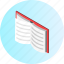book, education, knowledge, learning, library, notebook, science icon