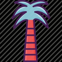 beach, coast, coconut, tree, tropical icon