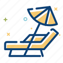 beach, chair, holiday, relax, ssea, summer, umbrella icon
