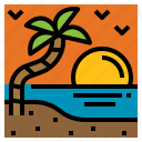 island, sunset, travel, vacation icon