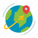 earth, global, planet, travel icon
